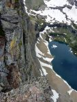 Looking down from dragon tail at glacial lake.