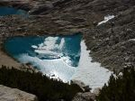 Glacial lake with film of ice.