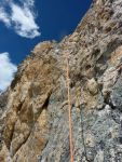 Climbing to arete on P5