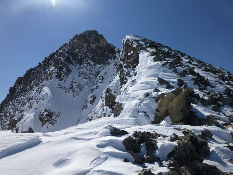 Top-out on NW couloir